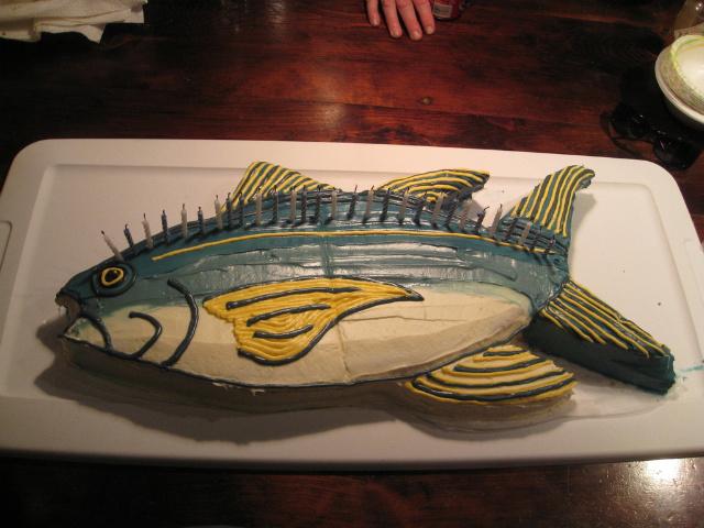 Fish cakes no fish harmed cakehead loves evil for Fishing birthday cake