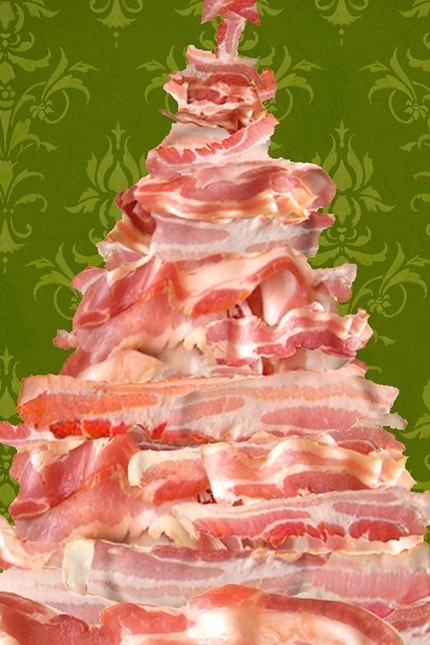 Bacon christmas trees cakehead loves evil for Bacon christmas tree decoration
