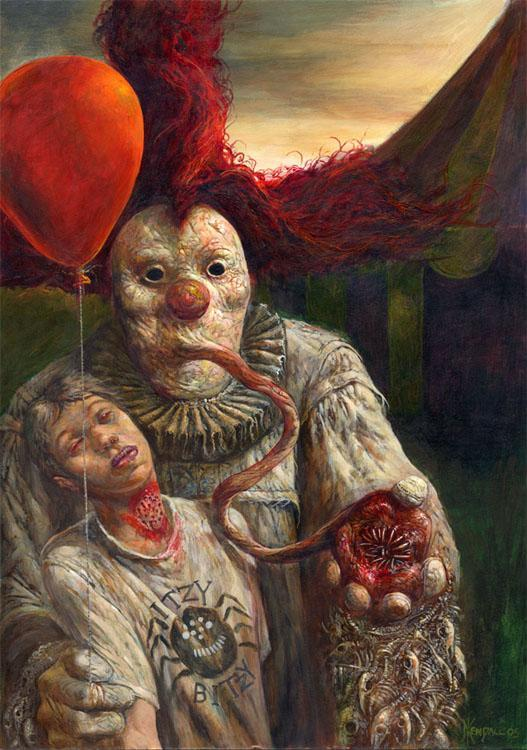 creepy clown art original painting carnival by sandymastroni |Creepy Clown Painting