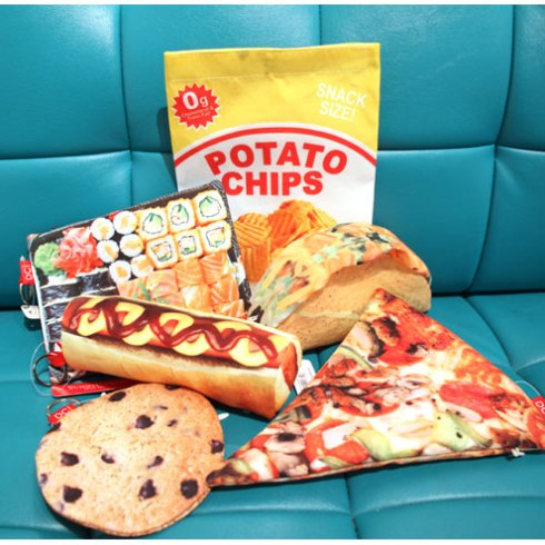 Choose from Sushi; Taco; Cookie; Pizza; Hot Dog & Potato Chips. Store your belongings in these yummy shaped pockets! Zipper pouch fits small accessories such as phones; pens; lip gloss; money & credit cards.