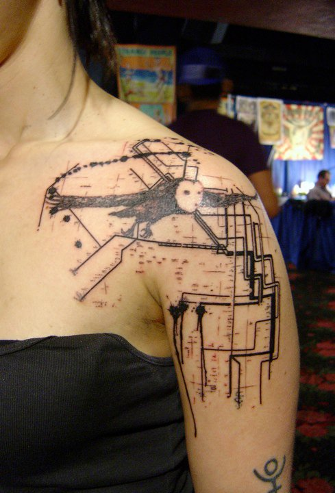 xoil tattoo tattoos side needles france french artist cool cute photoshop abstract female needle fun tatouage evil pelican glam thevandallist